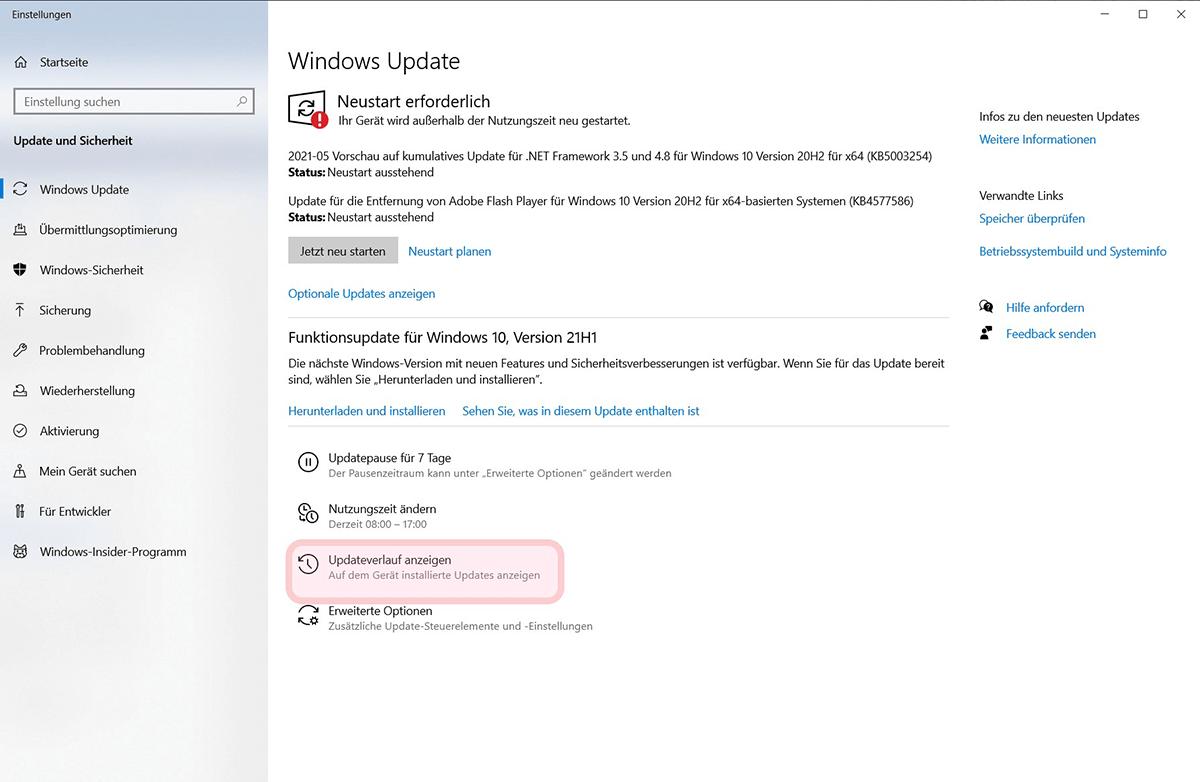 Updateverlauf anzeigen in Windows