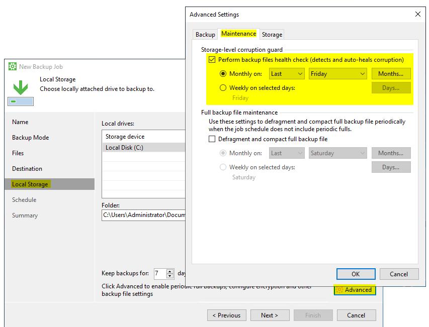 Datensicherung mit Veeam Health Check