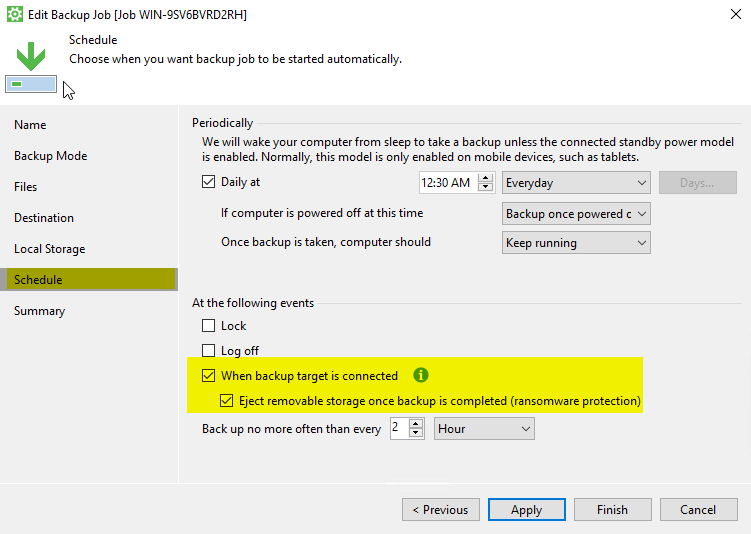 Datensicherung mit Veeam USB-Auswurf
