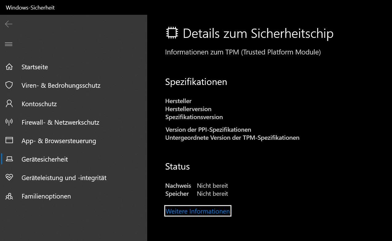 TPM 2.0 Sicherheitschip Details